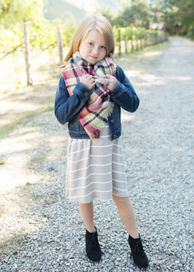 Girls Perfect for Fall Oversized Blanket Scarf Taupe