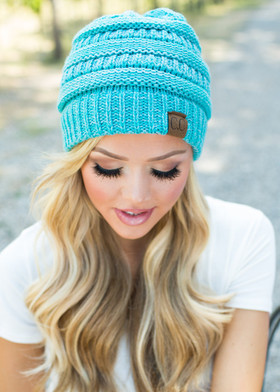 Mommy Slouchy Knit Beanie Dark Blue