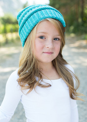Girls Slouchy Knit Beanie Dark Blue
