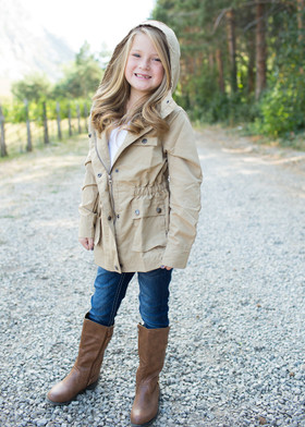 Girls Let It Rain Military Style Jacket Khaki CLEARANCE