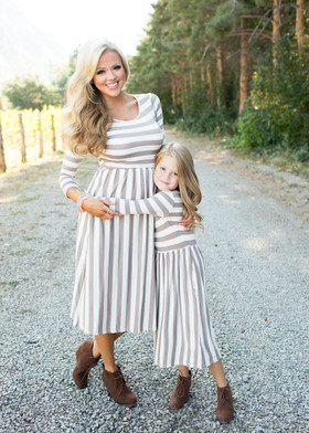Mommy Falling for Stripes Dress- Taupe