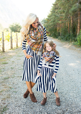 Mommy Falling for Stripes Dress Navy