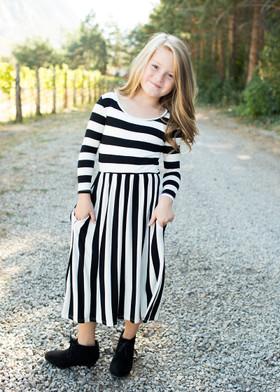 Girls Falling for Stripes Dress Black