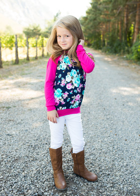 Girls Turquoise Flower Hoodie- Fuchsia  CLEARANCE