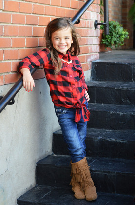 Girls All Plaid Front Tie Top- Red CLEARANCE