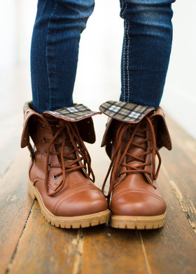 Girls Plaid Cuffed Lace Up Boot- Tan