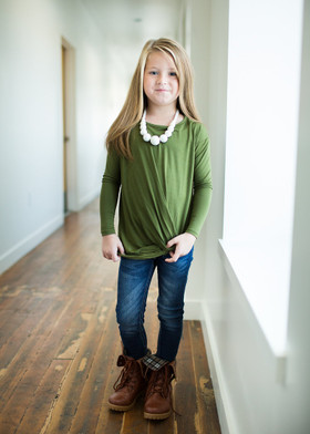 Girls Front Knot L/S Top- Olive