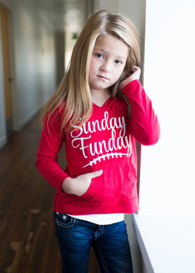 Girls Sunday Funday Hoodie- Red CLEARANCE