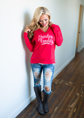 Mommy Sunday Funday Hoodie- Red CLEARANCE