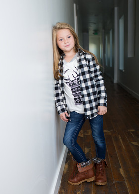 Girls Plaid Flannel Top- Black/White CLEARANCE