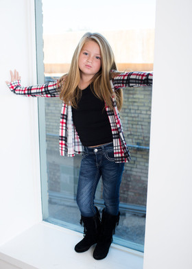 Girls Simple Plaid Cardi w/ Suede Elbow Patches- Red CLEARANCE