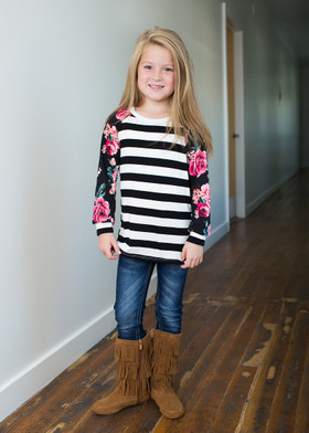 Girls Everyday Roses & Stripes L/S Top- Black