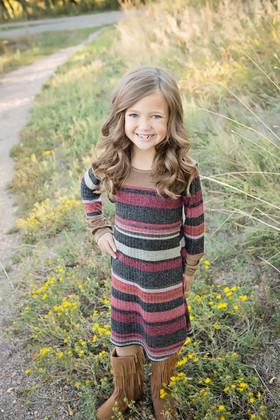 Girls Suede Contrast Striped L/S Dress- Burgundy