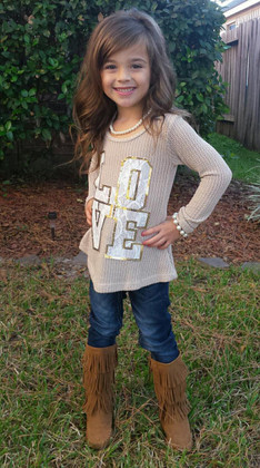Girls Knit L/S LOVE Sweater Top- Taupe
