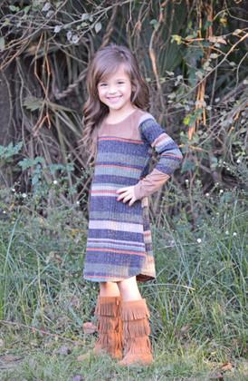 Girls Suede Contrast Striped L/S Dress- Olive