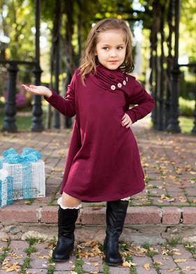 Girls Button Cowl Neck L/S Dress- Burgundy