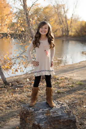 Girls Native Fringed Top 3 Piece Set- Taupe