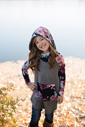 Girls No Ordinary Floral Pocket Hoodie- Charcoal CLEARANCE