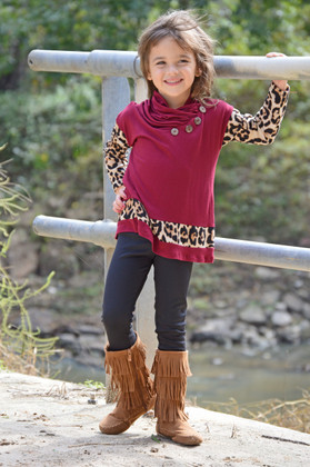 Girls Leopard Sleeve Cowl Neck Top- Burgundy