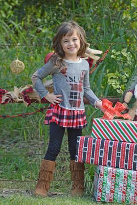 Girls Plaid Ruffle Bottom Reindeer Set- Red CLEARANCE