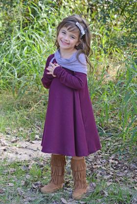 Girls Cowl Neck Tunic Dress w/ Pockets- Plum  CLEARANCE