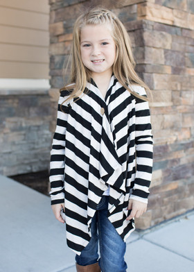 Girls Top Button Striped Poncho- Oatmeal/Black