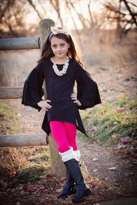 Girls Fuchsia Fleece Lined Leggings