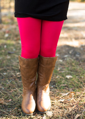 Girls Hot Pink Fleece Lined Leggings