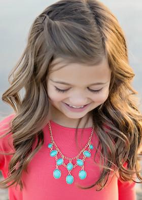 Girls Flaunt It Jeweled Necklace- Mint