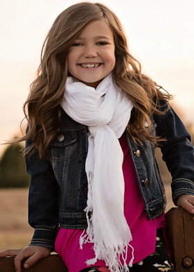 Girls Silk Crinkle Scarf- White CLEARANCE