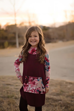 Girls No Ordinary Floral Pocket Hoodie- Burgundy