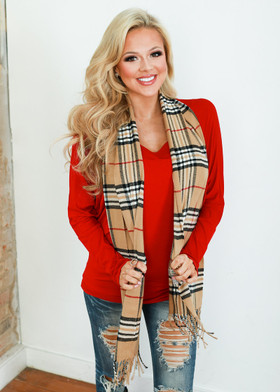 Mommy Plaid Scarf Tan  CLEARANCE