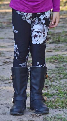 Girls Black and Grey Rose Leggings