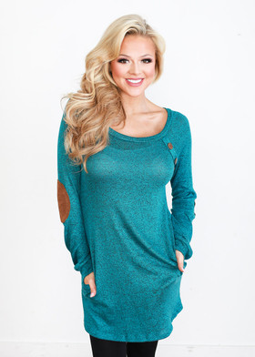 Mommy Angled Buttons & Suede Patch Tunic w/ Pockets- Teal