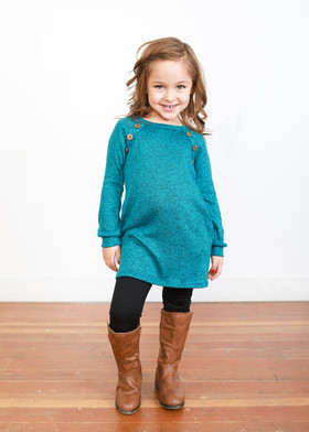 Girls Angled Buttons & Suede Patch Tunic w/ Pockets- Teal