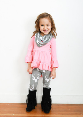 Girls Pink and Gray Deer Set CLEARANCE
