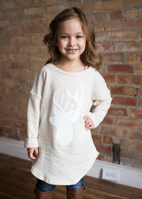 Girls Cupid's Favorite Sweater Oat CLEARANCE