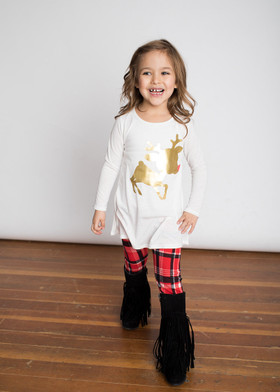 Girls Gold Reindeer Top w/ Plaid Leggings Set- Ivory  CLEARANCE