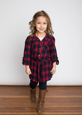 Girls Front Tie Plaid Top w/ Sequin Elbows 2 Piece Set- Red CLEARANCE
