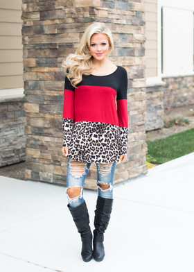 Mommy Leopard Bottom & Lace Button Back Top- Black/Red