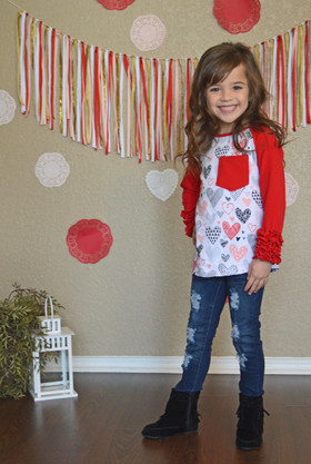 Girls Hearts & Ruffle Sleeve Top w/ Front Pocket- Red