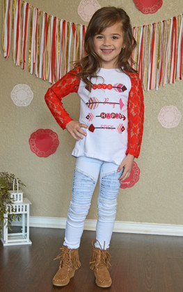"Girls ""Love Pray Happy Free"" Top- Red"