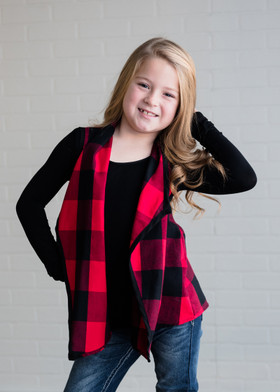 Girls Checkered Open Vest Red/Black