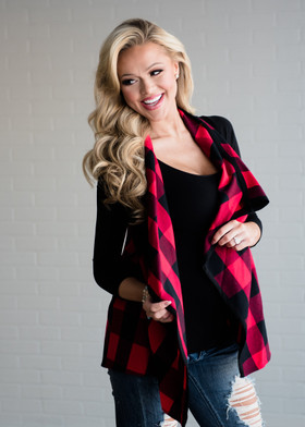 Mommy Checkered Open Vest Red/Black