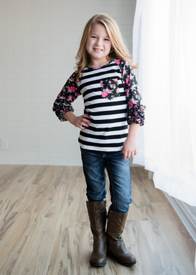 Girls Ruffles and Roses Striped Top- Black CLEARANCE