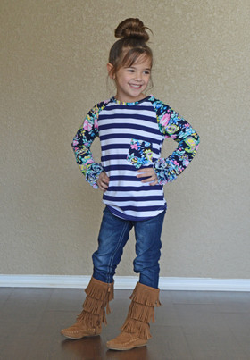 Girls Ruffles and Paisley Striped Top Navy