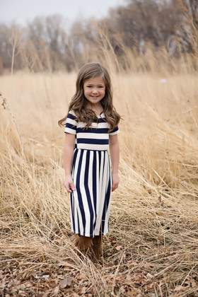 Girls Simply Striped Dress w/ Pockets- Navy