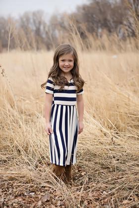 Girls Simply Striped Dress w/ Pockets- Navy