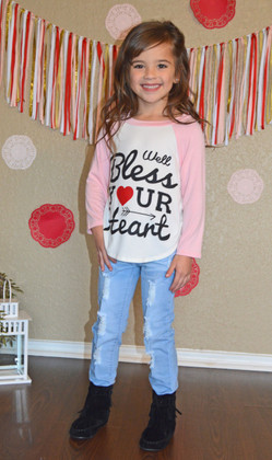 Girls Well Bless Your Heart Top- Pink