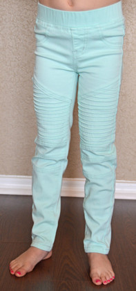 Girls Moto Jeggings- Mint CLEARANCE